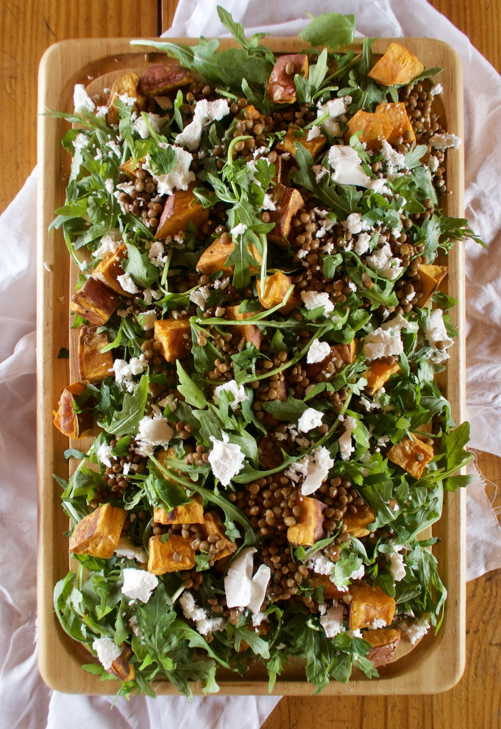 Sweet potato, lentil and feta salad