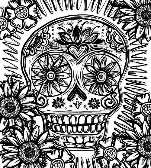 Coloring Pages  Sugar Skull  Lydia Hess  illustration  Sacred