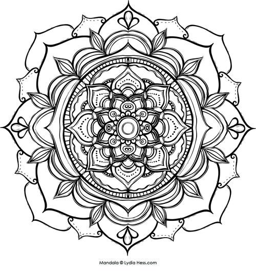 Nature Mandala Coloring Pages Coloring Pages  Mandala — Lydia Hess  Illustration  Sacred .