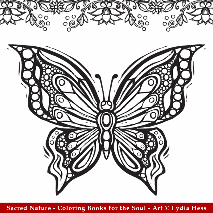 butterfly image from sacred nature coloring book - Nature Coloring Book