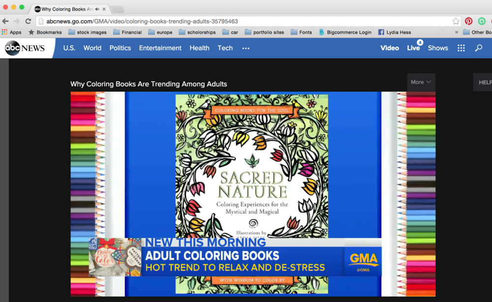 Sacred Nature - Coloring books for the Soul series - published by  HarperElixir