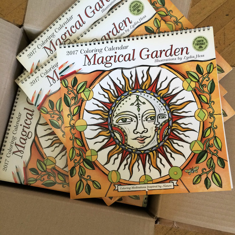 magical garden 2017 coloring wall calendar coloring meditations inspired by nature