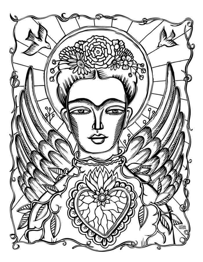 Frida kahlo angel lydia hess illustration design