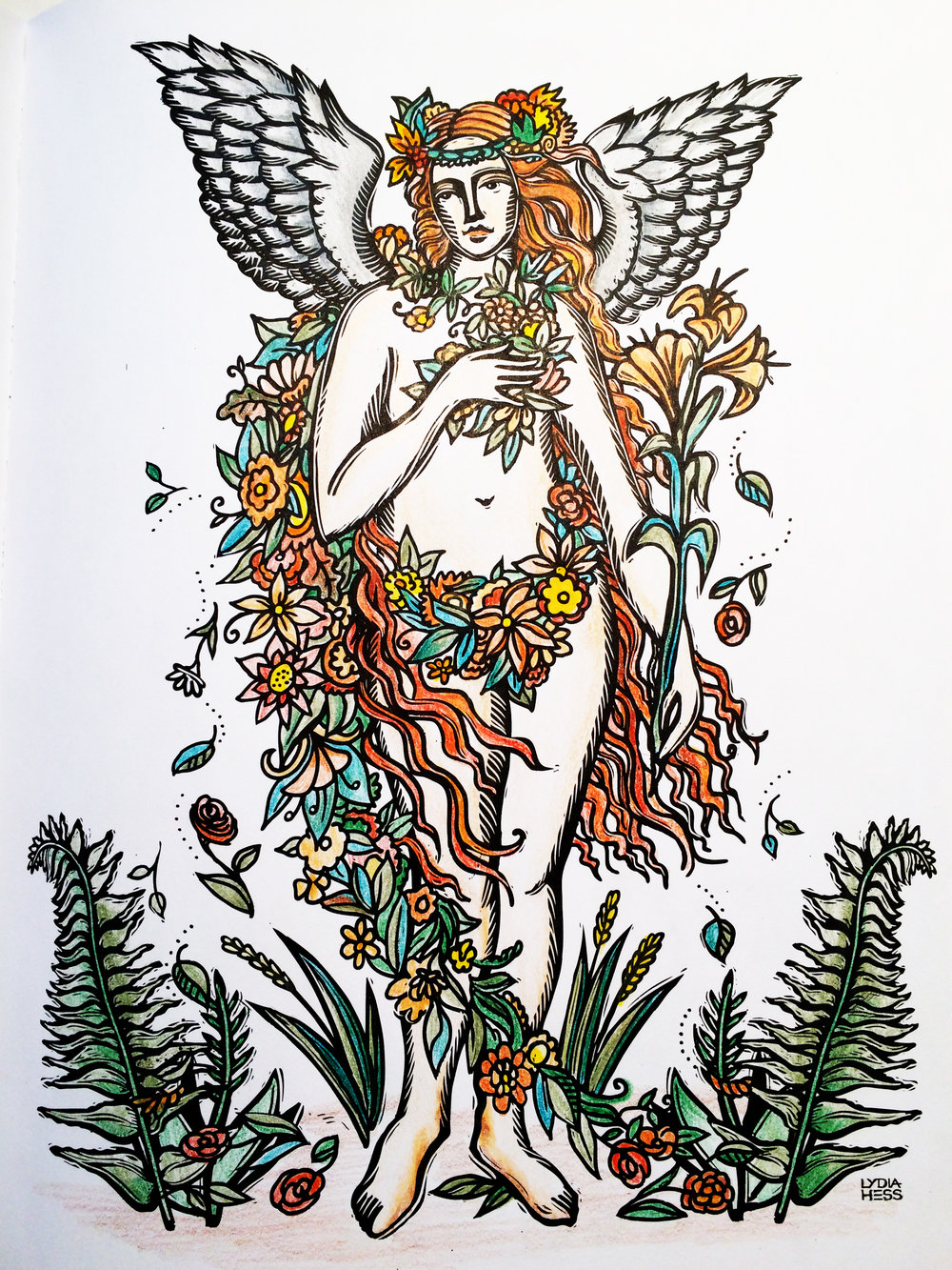 Tenderness - Angel - From Sacred Angels - Coloring Books for the Soul.