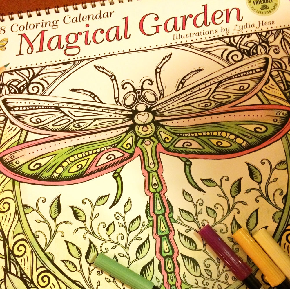2018 Magical Garden Coloring Calendar - Published by Amber Lotus Publishing