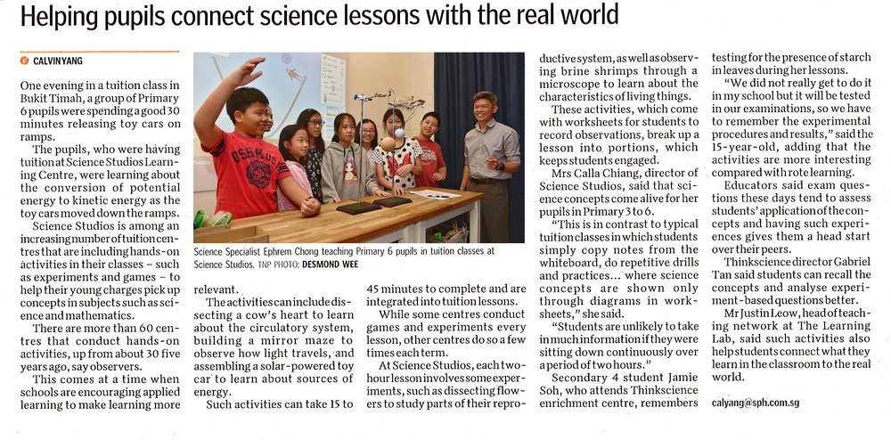 Connect science lessons with the real world - The New Paper
