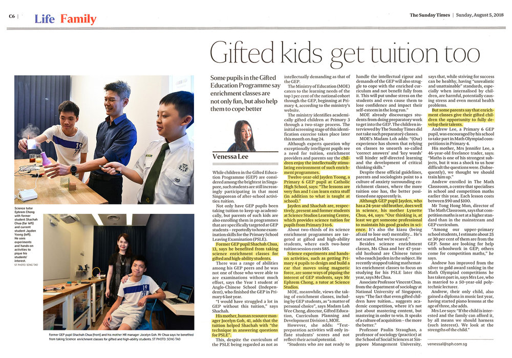 Gifted kids get tuition too - The Sunday Times