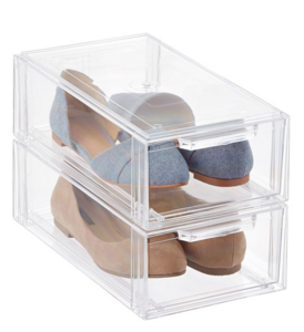 Clear Shoe Drawers can be used for towels and other items to be seen easily. From Container Store