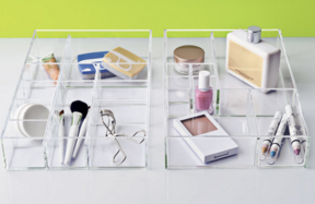 Stacking Acrylic Trays help organize small items. From Container Store.