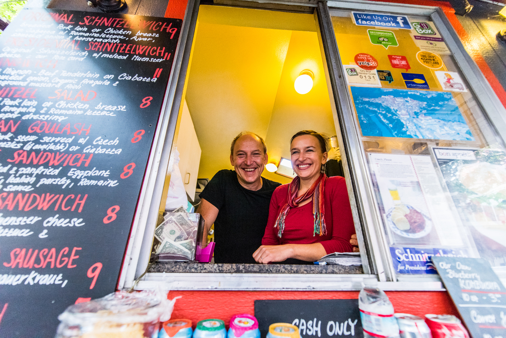 Monika and Karel received a small business loan through Mercy Corps Northwest 10 years ago, and used the money to launch their food cart, Schnitzelwich.