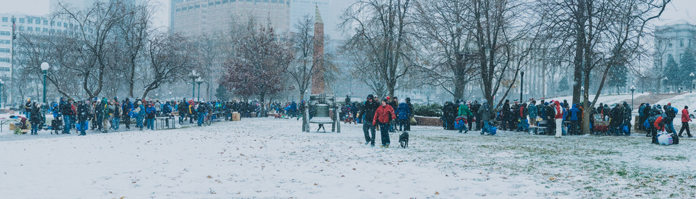 Christmas in the Park, 2015. Beside the Colorado State Capitol building in Denver. 600 homeless individuals and families came to receive needed items like sleeping bags, winter coats, gloves, socks, and more.