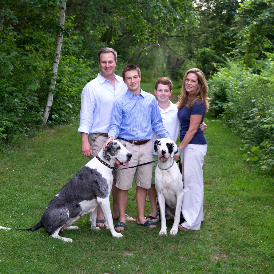 Betsy with husband Jeff, sons Connor and Rowan, dogs Scarlet & Mischa.                                                                                               Photo Credit for this photo and home page photo go to Terri Unger Photography:  www.terriunger.com
