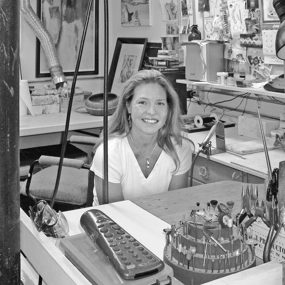 Betsy at her bench in her Ipswich studio