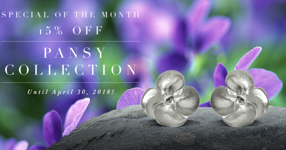 Celebrate Mother's Day with an item from out Pansy Collection--15% off the entire collection until April 30, 2018.