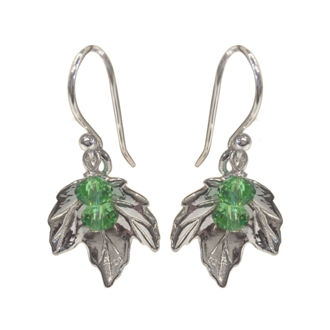Sterling Silver Maple Leaf Earrings (with or without stone)