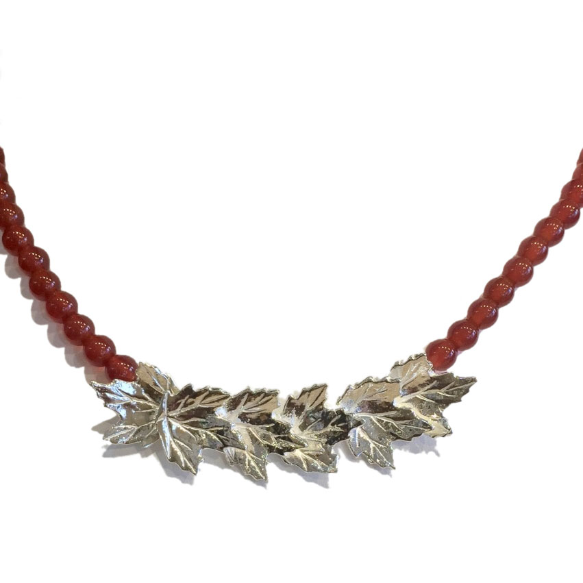 Sterling Silver Maple Leaf Necklace with Beaded Strand