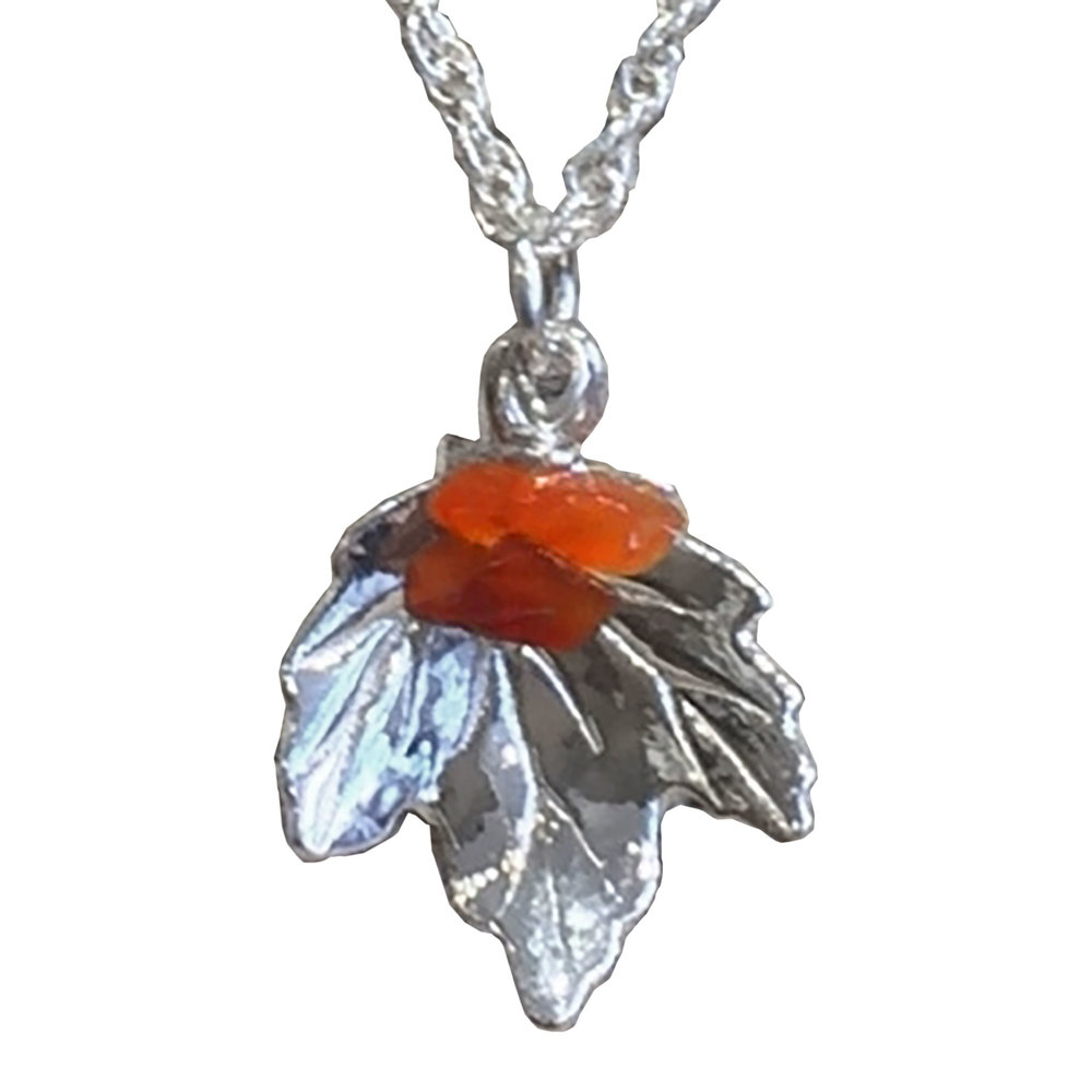 Sterling Silver Maple Leaf Pendant (with or without beads)
