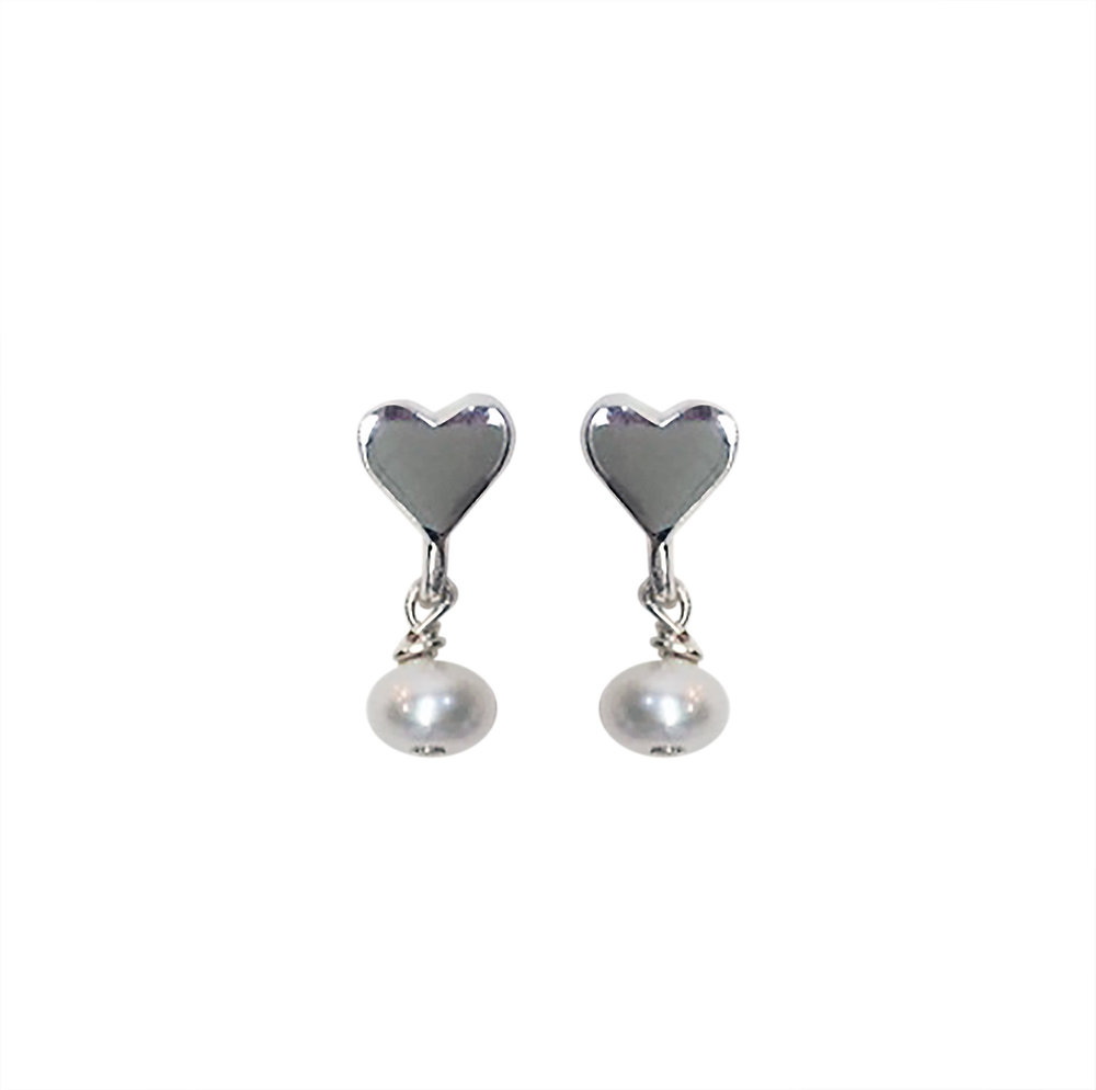 Sweetheart Post Earrings with White Freshwater Pearl