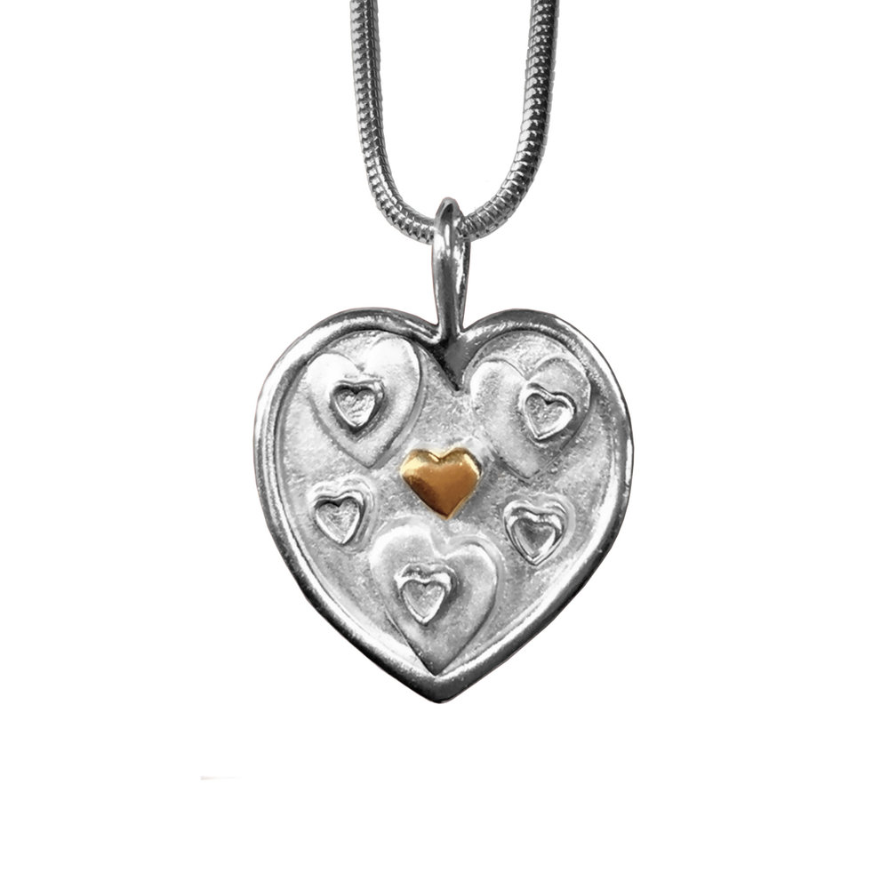 """Heart of Hearts"" Pendant with 14K Accent"
