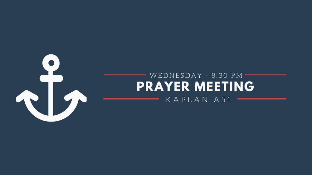 We'll be having weekly prayer meetings this quarter on Wednesdays! Come and join us for a time of connecting with God and spiritual recharging. We will be meeting at  Kaplan A51  starting at  8:30PM .