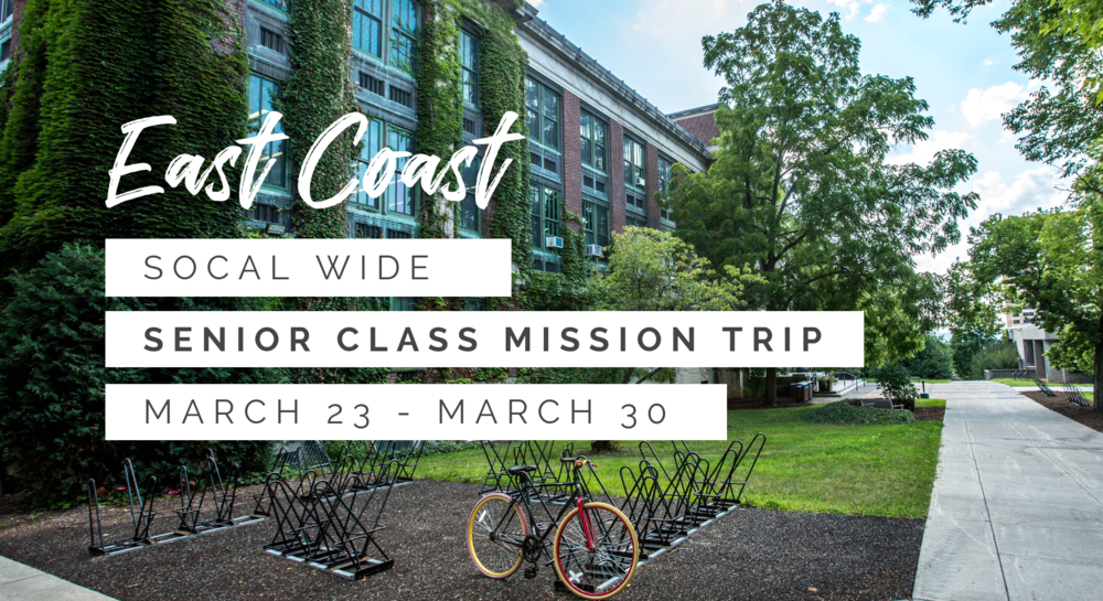 If you're a senior then join us for our East Coast senior class mission trip. We will be going to our east coast churches to help them reach out to their respective campuses!
