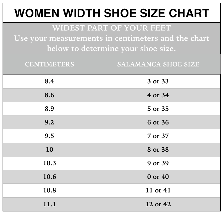 Shoe Size Chart Salamanca Custom Made Tango Shoes New York Tango