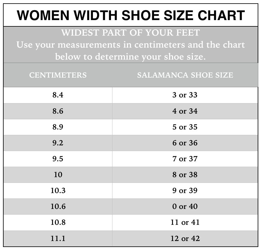 Shoe size chart salamanca custom made tango shoes new york tango