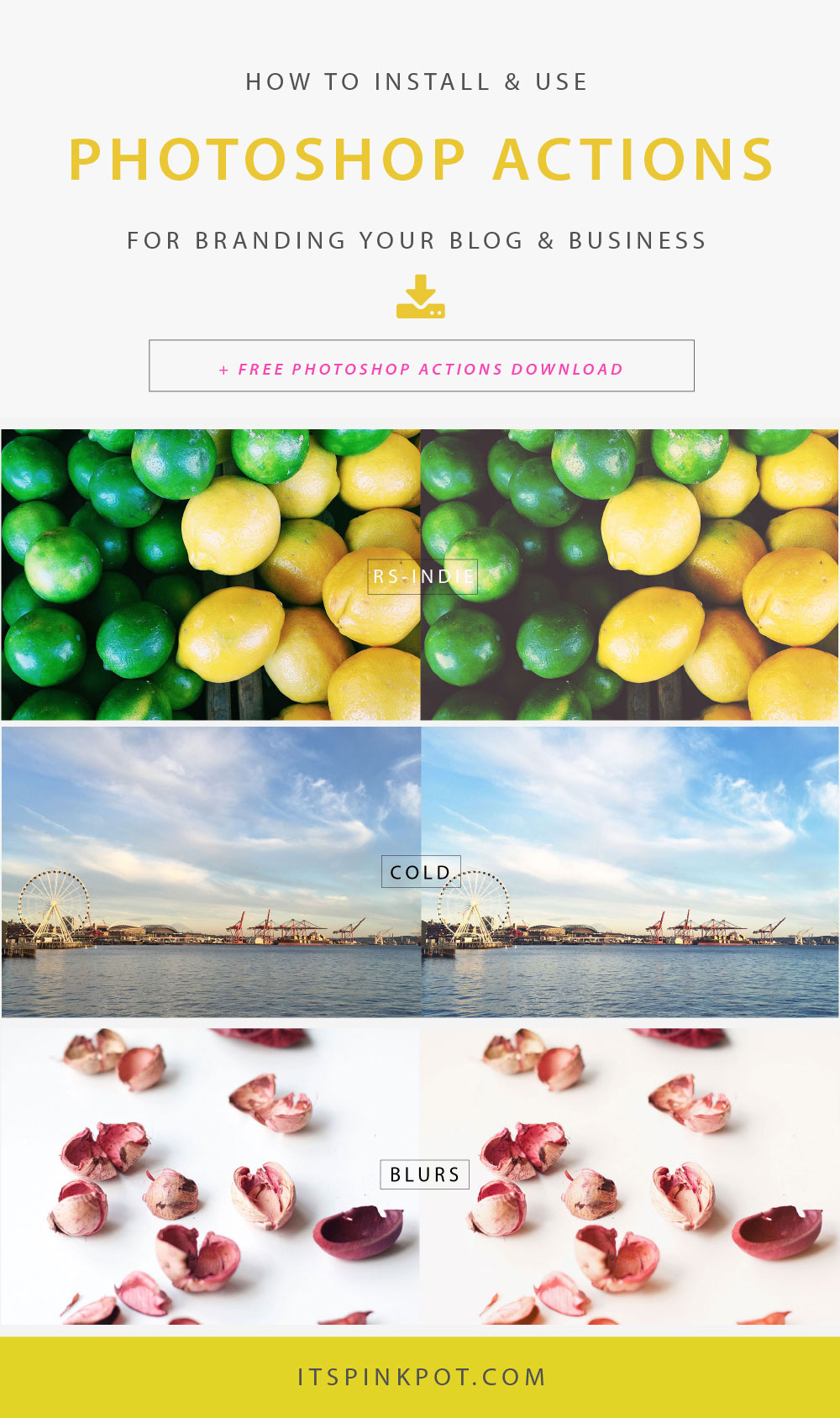Curious about how to use photoshop actions for branding your blog & business? Here is a step by step tutorial to get you started with photoshop actions and also you can download a FREE set of professional actions from @filtergrade!
