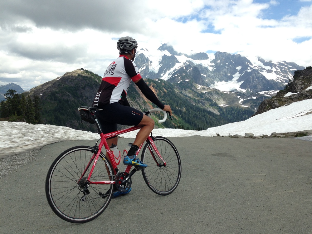 Road riding Mount Baker