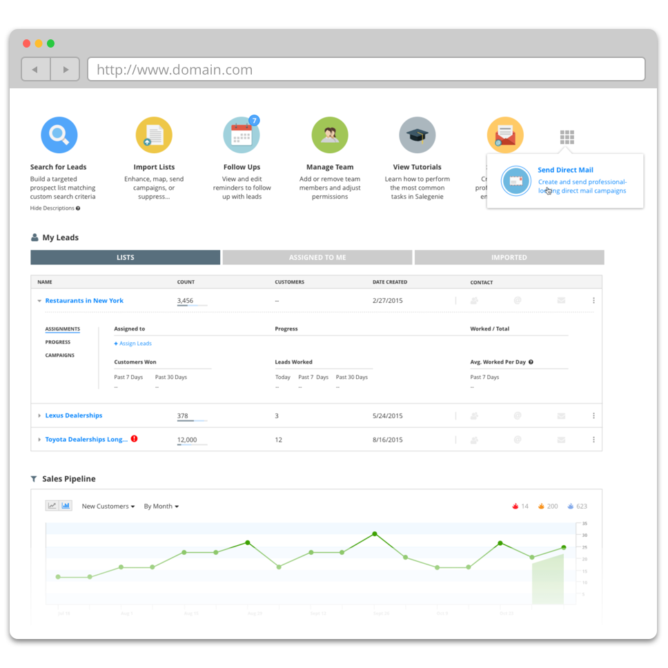 SALESGENIE DASHBOARD REDESIGN