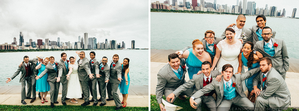 024-funny-bridal-party-chicago-skyline-lake-michigan-outdoors-overcast-laugh.jpg