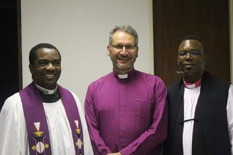 The REACH-SA bishops with Rev. Lukas Katenda of NEAC and acting principal of NETS (Namibia Evangelical Theological Seminary)