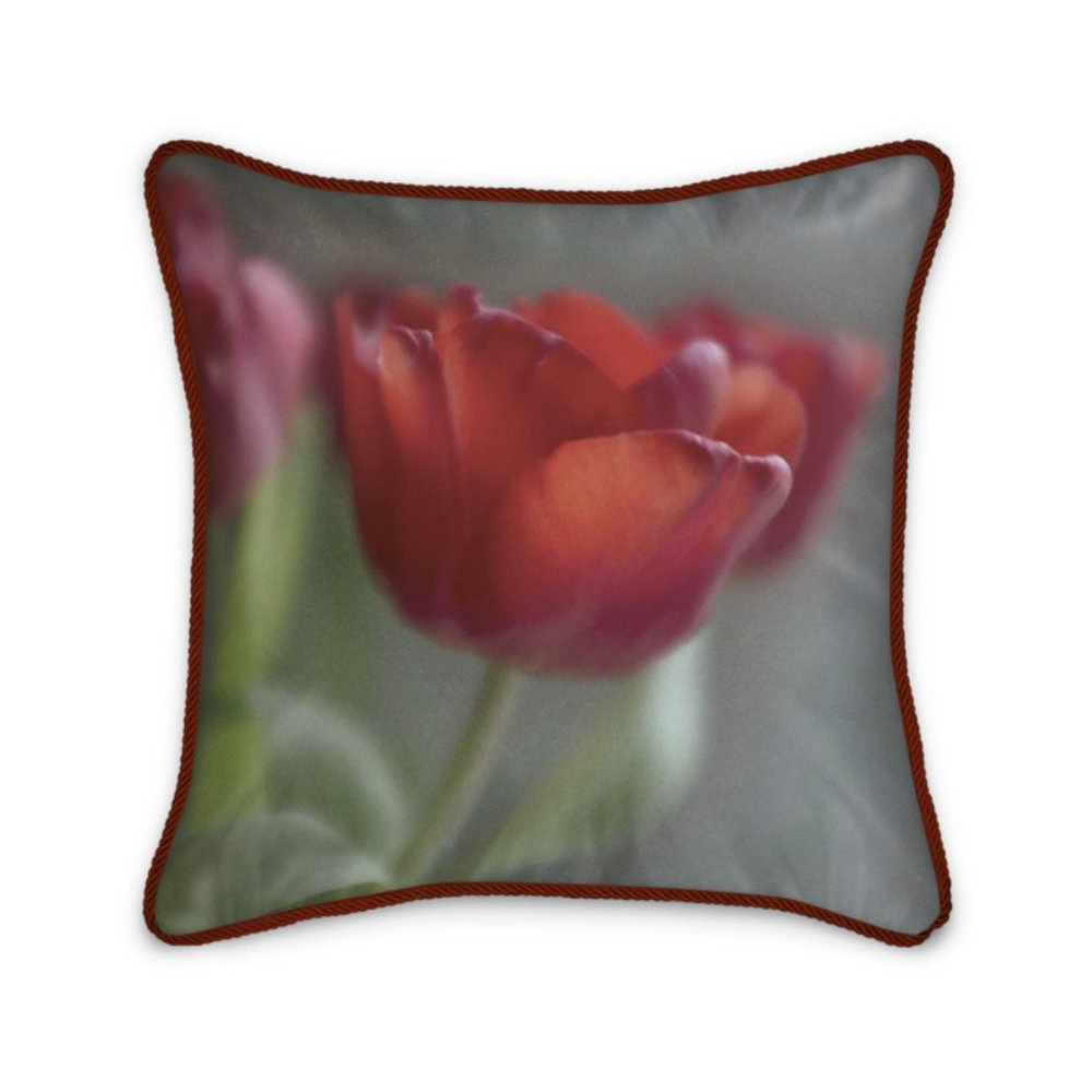 Red Tulip 100% Silk Cushion