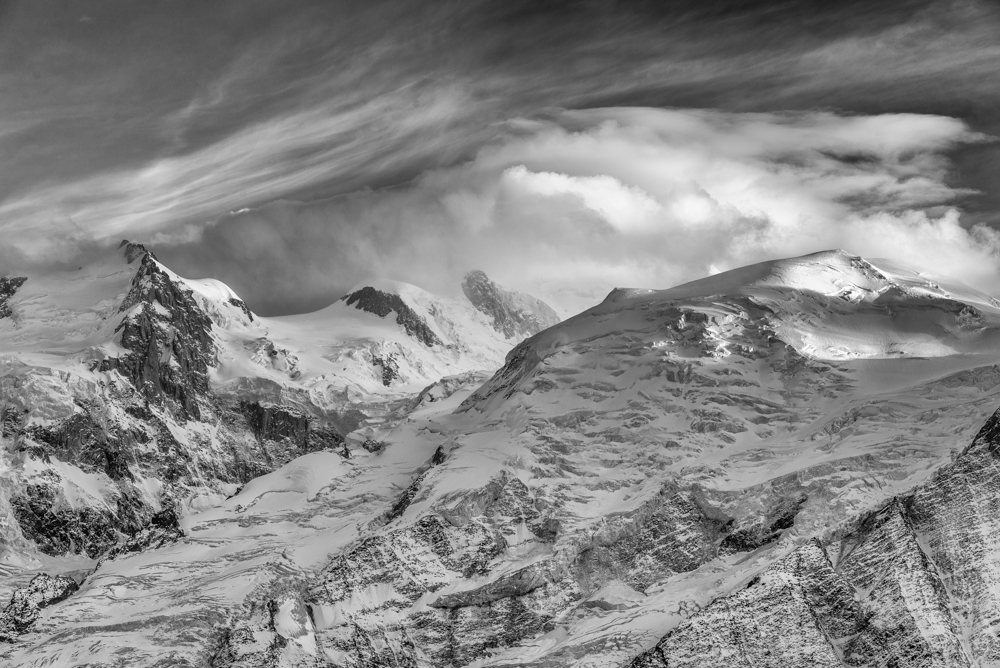 Mont Blanc du Tacul, Mont Maudit and the Dome du Gouter. Chamonix