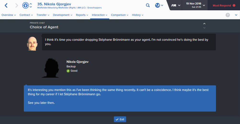 The Agent is sacked and Gjorgjev for now is happy to remain on £2.2k per week