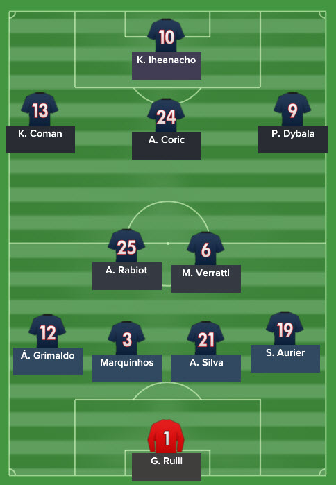 PSG's line up.