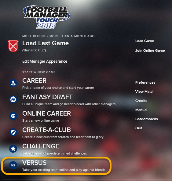 You will need to face-off against your opponent on FM Touch, using the Versus Mode (highlighted above).