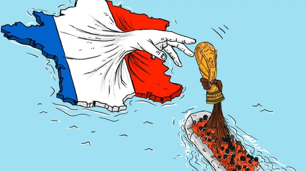 Cartoonist Mahmoud Al Rifai depicted the victory of France's 2018 FIFA World Cup win.