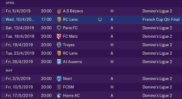 The final two months of Season 2018/19.