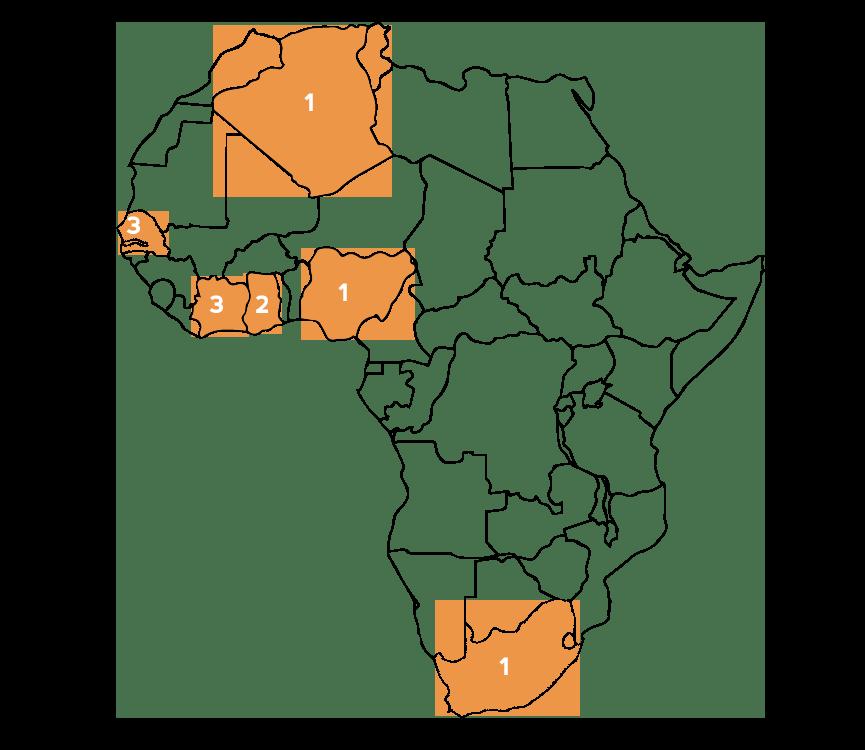 Achilles' Africa so far: Algeria, Côte d'Ivoire, Ghana, Nigeria, Senegal & South Africa.