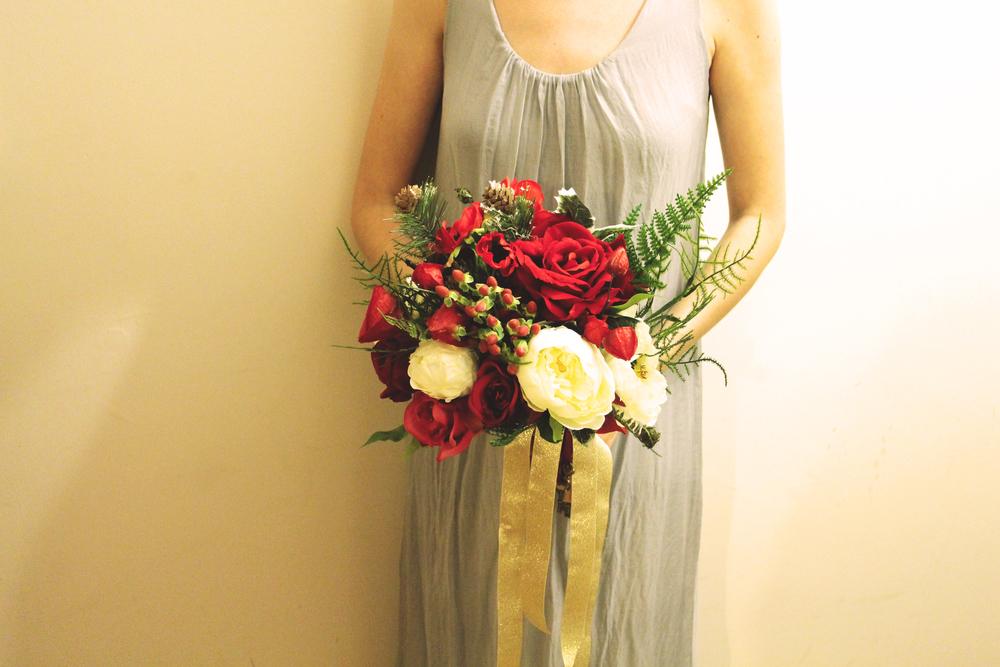 A festive silk flower bouquet