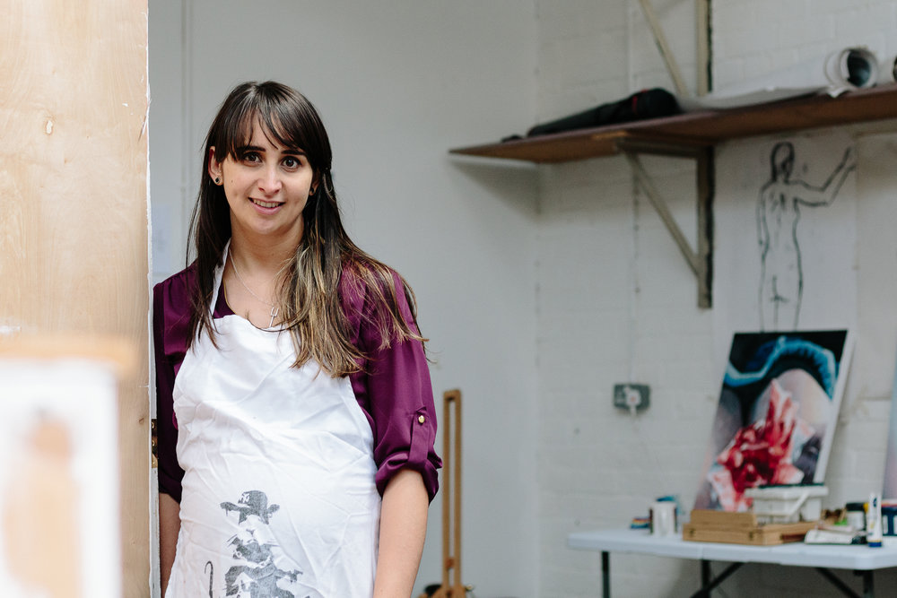 Hannah in her studio at Halton Mill, Lancaster