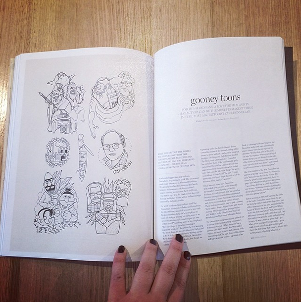 I interviewed pop culture tattooist Zane Donnellan (AKA Gooney Toons) for issue 11 of   Smith Journal, published June 2014.