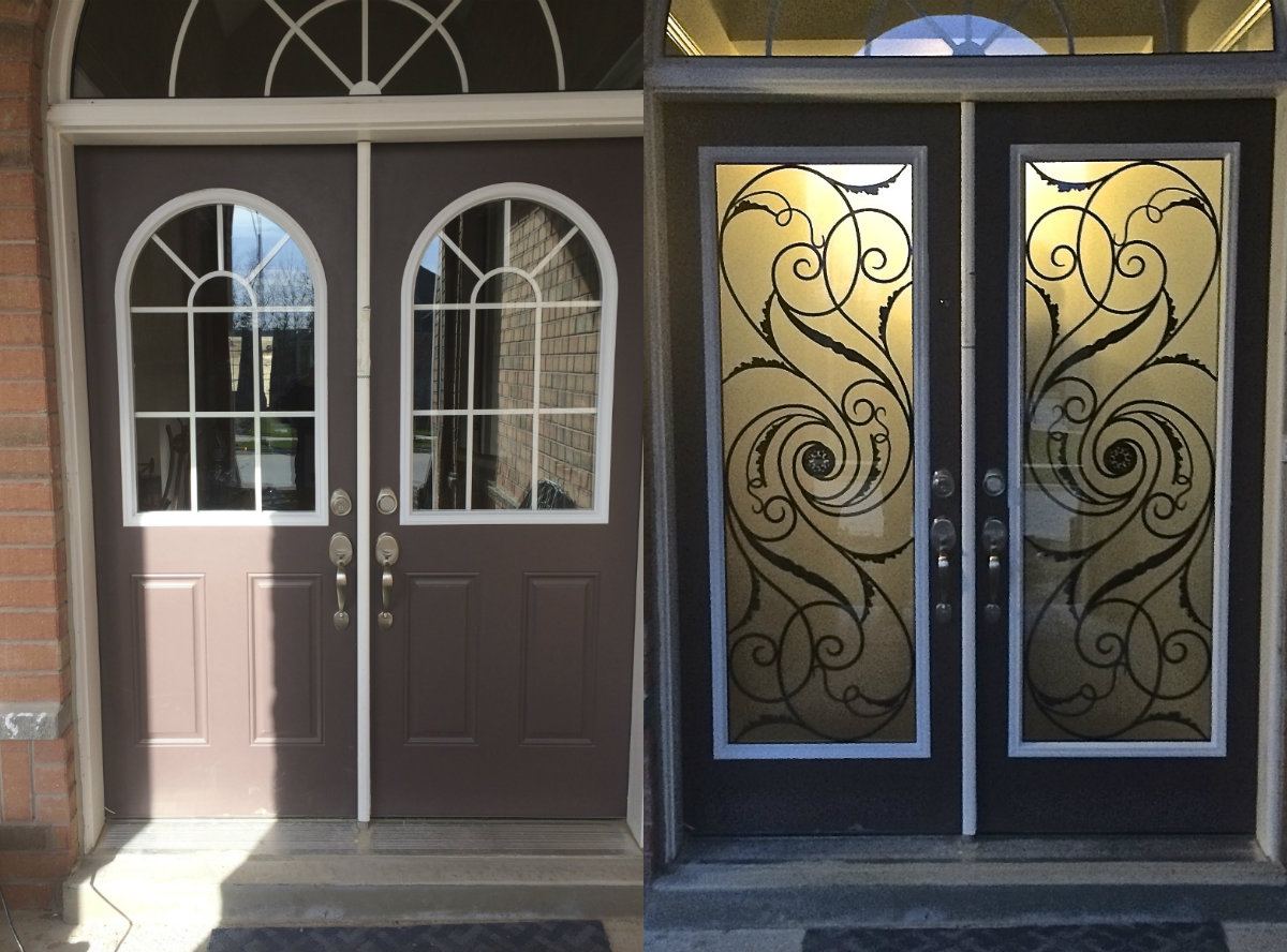 Distinctive Glass Door Inserts Installation In Innisfil, Ontario