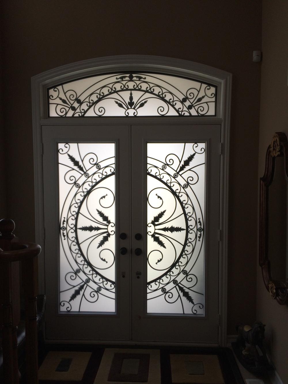 Chesterfield-wrought-Iron-Glass-Door-Inserts-Hamilton-Ontario