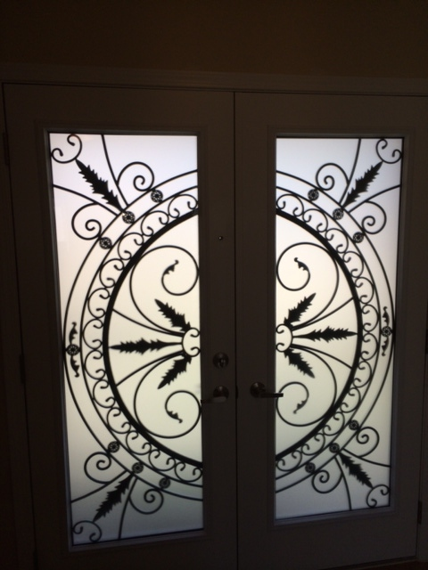 Chesterfield-wrought-Iron-Glass-Door-Inserts-Mississauga-Ontario