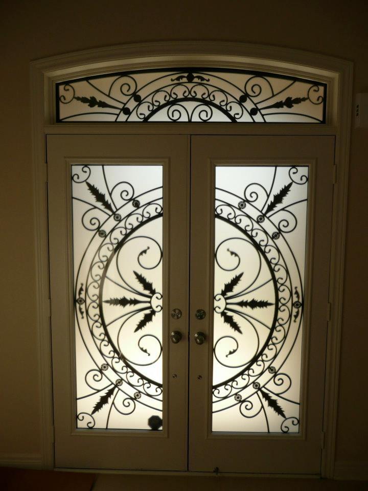 Chesterfield-wrought-Iron-Glass-Door-Inserts-Brampton-Ontario