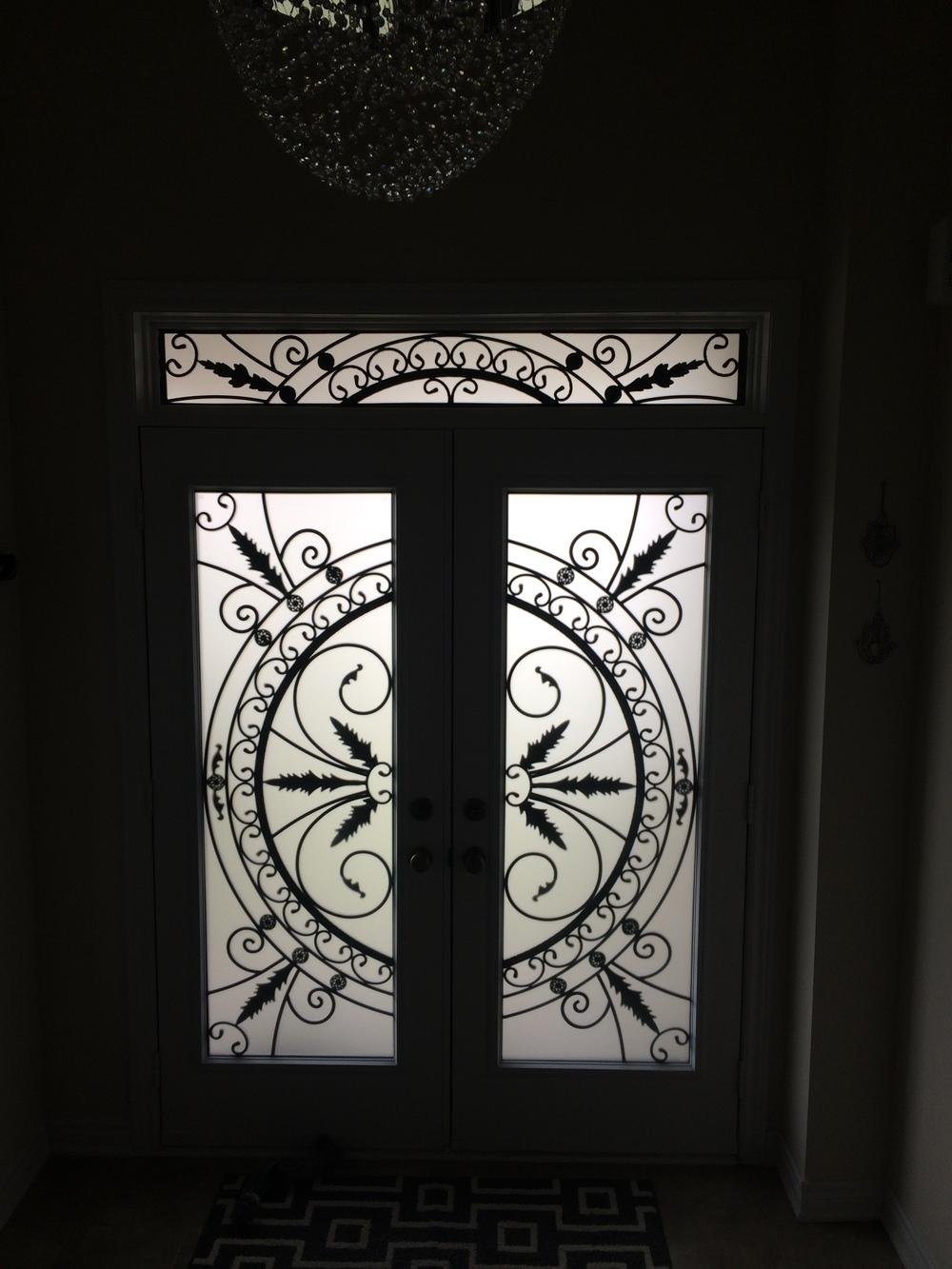 Chesterfield-wrought-Iron-Glass-Door-Inserts-Vaughan-Ontario
