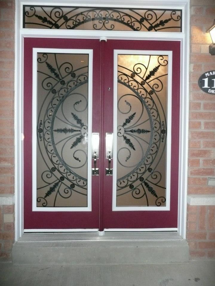 Chesterfield-wrought-Iron-Glass-Door-Inserts-Toronto-Ontario