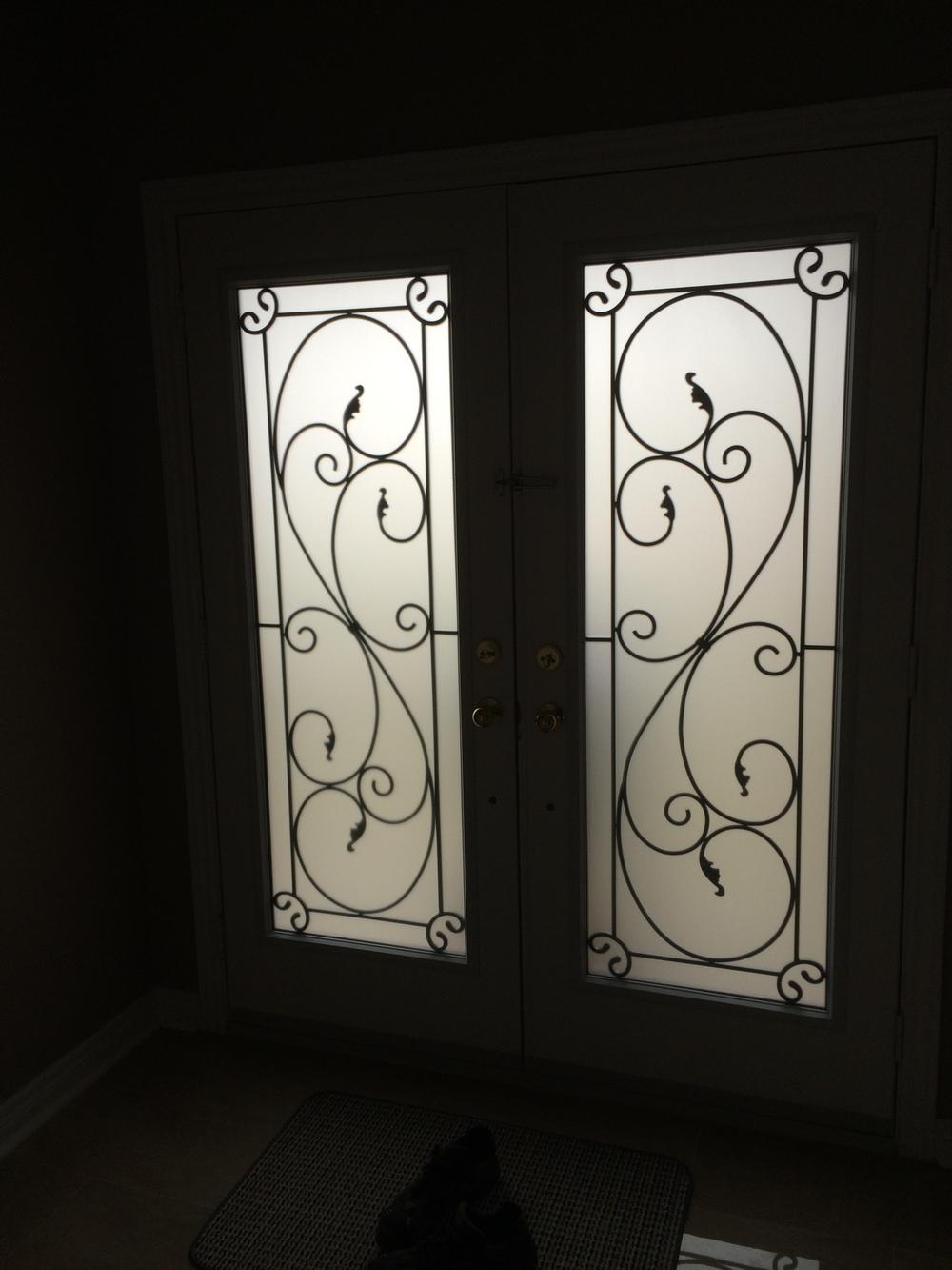 Flamingo-Bay-Wrought-Iron-Glass-Door-Inserts-Bowmanville-Ontario
